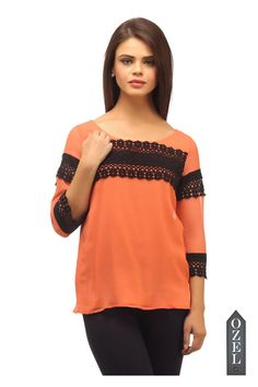 CORAL TOP EMBELLISHED WITH LACE