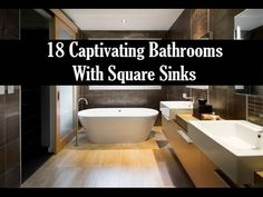 18 Captivating Bathrooms with Square Sinks Interior Design Videos, Square Sink, Sinks, Bathrooms, Bathtub, Standing Bath, Utility Room Sinks, Bathroom, Sink Tops