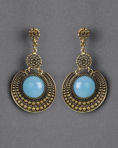 Stone Metal Earrings from Artisans