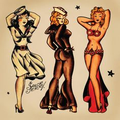 sailor jerry pin up portrait tattoo