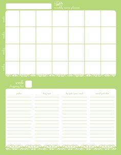 month long menu planner and shopping list