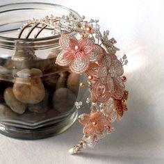 French Beaded Flowers HEADBAND  glass seed by AncaPeelma