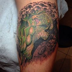 ryan murphy tattoo snapping turtle tattoo with finger waves japanese tattoo neo traditional