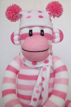 Cute Pink Candy Stripe Sock Monkey