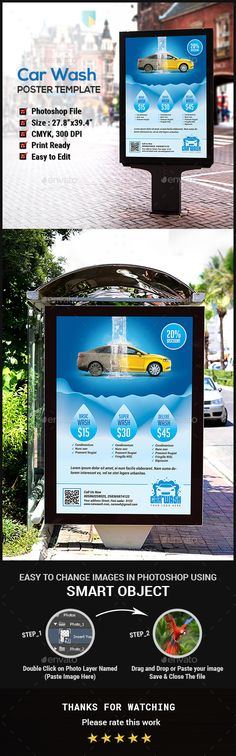 Car Wash Poster by Creative-Touch This Poster Template is perfectly suitable for promoting your Business. You can also use this template in multipurpose advertising
