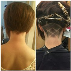 Short asymmetrical Bob with an undercut! Can't get much more spunky than this!