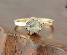 3 Carat Uncut Diamond 14k Gold Ring