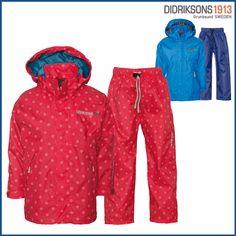 Didriksons Tigris Kids Ruby Circle Waterpoof Jacket and Trousers set . Fully waterproof and windproof bright girls rainwear. Harem Pants, Trousers, Pajama Pants, British Clothing Brands, Kids Overalls, Kids Prints, Rain Wear, Printer, Rain Jacket