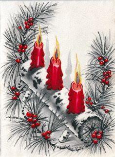 Vintage Greeting Christmas Card Candles Yule Log Metallic Silver