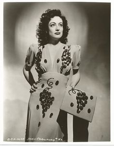 Joan Crawford in the most amazing 1940s grape adorned dress & matching handbag vintage fashion style photo print ad movie star rayon novelty print beading dress gown