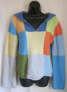 BLUE ASPHALT Women's Color Block Boulce Knit Hoodie L Large #BlueAsphalt #Hoodie #Casual