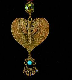 Sacred heart Rosary necklace bohemian by vintagesparkles on Etsy
