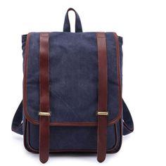 Vintage London Style Canvas Travel Satchel School Bookbags daypacks Royal Blue * Visit the image link more details.