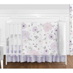 Buy Sweet Jojo Designs Lavender Purple, Pink, Grey and White Shabby Chic Watercolor Floral Baby Girl Nursery Crib Bedding Set without Bumper - 4 pieces - Rose Flower Polka Dot Baby Girl Nursery Bedding, Girls Bedding Sets, Crib Bedding Sets, Nursery Room, Chic Nursery, Nursery Ideas, Purple Crib Bedding, Girl Nursery Purple, White Bedding