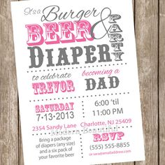Nachos and Beer Diaper Baby Shower Invitation Pink and Grey Dad Diaper Invitation Party Printable Personalized