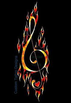 Fire Treble Clef Music Tattoo