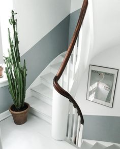 A Danish home full of vintage finds my scandinavian home: Two tone walls in the stairway of a Danish home Half Painted Walls, Painted Stairs, Luxury Homes Interior, Interior Design, Danish House, Two Tone Walls, Stairway Walls, Hallway Paint, Hallway Colours