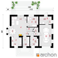 Dom w rododendronach 15 House Plans, Floor Plans, Farmhouse, How To Plan, Houses, Blueprints For Homes, Home Plans, Rural House, House Design