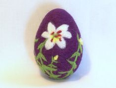 Easter Egg, Needle Felted Easter Egg - White and Yellow Lily on Eggplant Colored Egg