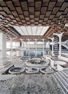 Devastated lobby of Hotel Palace at Haludovo Resort, close to the village of Malinska on the Island of Krk, Croatia; architect: Boris Magas 1972  © photo: Daniele Ansidei 2011