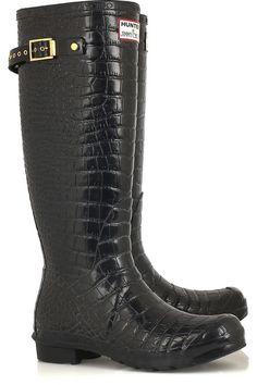 Like it!! JIMMY CHOO for Hunter  Crocodile-print Wellington boots