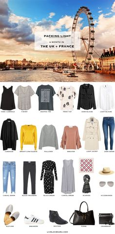What to Pack for The UK and France Packing Light List #packinglist #packinglight #travellight #travel #livelovesara