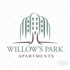 Logo Sold Beautiful logo design of a willow tree designed to resemble an apartment complex or commercial building contained within the hanging branches and leaves of the tree. City Branding, Real Estate Branding, Real Estate Logo, Restaurant Branding, Logo Branding, Building Logo, Commercial Realtor, Logo Real, Make Your Own Logo