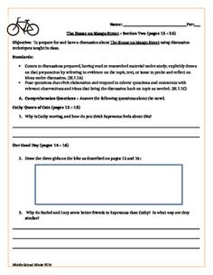 House on Mango Street - Section Eight Guided Reading | Guided ...