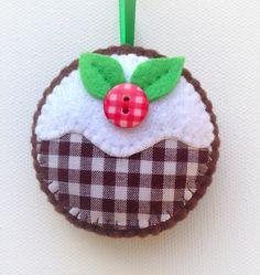Hand stitched Felt Christmas Pudding Ornament