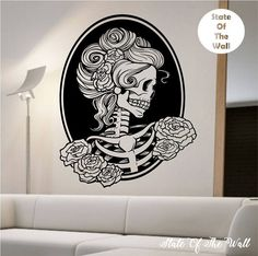 Day of the dead girl Vinyl Wall Decal Sticker Art Decor Bedroom Design Mural sugar skull home decor art street art awesome by StateOfTheWall on Etsy https://www.etsy.com/listing/219527474/day-of-the-dead-girl-vinyl-wall-decal