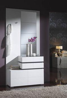 Meuble d'entrée moderne avec meuble à chaussures + miroir APOLLINE, coloris Blanc et gris