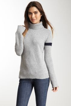 One stripe. That's all. Ainsley  Cashmere Blend Stripe Sleeve Turtleneck Sweater