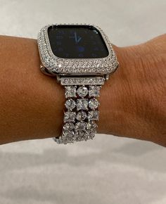 Apple Watch Band Woman Silver and or Apple Watch Cover Lab Diamond Bezel Bling Bling Bling, Apple Watch Accessories, Silver Apples, Lab Diamonds, Silver Diamonds, Apple Watch Bands, Gold Bands, Crystal Rhinestone, Jewelery