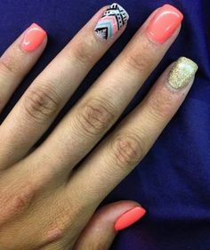 Aztec design nails! Acrylic nails with free hand nail art and gel top coat.