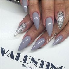 Grey nails with sparkle. - #nails #glitter #design