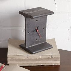 The minimalistic design, steel frame and matte finish of the I-Beam Clock lends an industrial vibe to desks, bookcases or consoles. https://www.industrymod.com