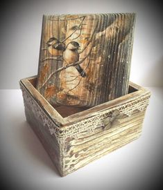 Декупаж&K Painted Wooden Boxes, Decoupage Box, Rustic Art, Altered Boxes, Antique Stores, Casket, Jewellery Storage, Homemade Gifts, Barn Wood