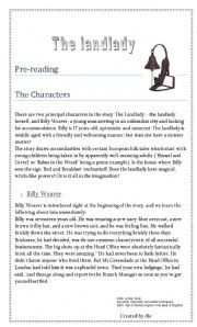 THE LANDLADY by ROALD DAHL worksheet - Free ESL printable ...
