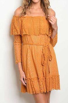 195f736c3926 Golden Dreams Off Shoulder Boho Lace Short Dress  lace  lacedress   yellowdress  offshoulder
