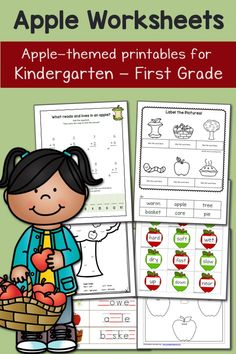 Apple Worksheets for Kindergarten and First Grade: math, cut and paste, missing vowels, and more!