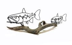 Handcrafted Double Trout Wire Sculpture attached to a piece of driftwood. My wire sculptures are one of a kind, three-dimensional wire drawings. They delight viewers as their appearance changes depending on the angle and the lighting. Dimensions Length: 17 inches Depth: 7.5 inches