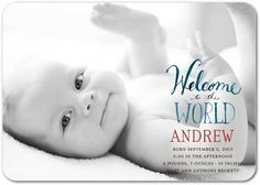 Painted Message - Boy Photo Birth Announcements - Petite Alma - Ruby - Red : Front