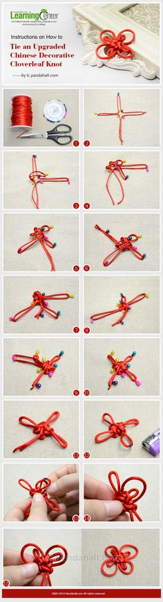 Instructions on How to Tie an Upgraded Chinese Decorative Cloverleaf Knot