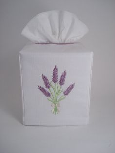 Embroidered Lavender Bouquet Tissue Box Cover by OctaviaStreet, $14.00