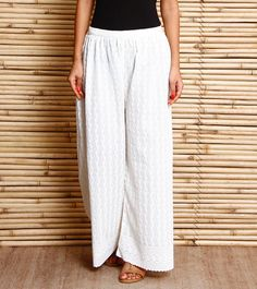 Creme Embroidered Cotton Palazzos