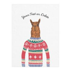 Funny Cute Llama wearing Ugly Christmas Sweater Fleece Blanket - cool gift idea unique present special diy