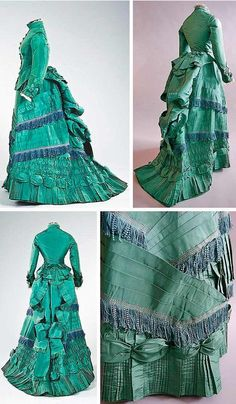 The HoopSkirt Society — Visiting gown, ca. 1875. Taffeta, with stand...