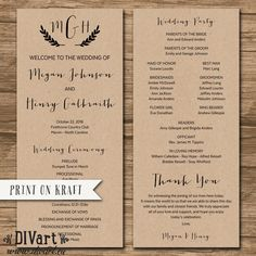 Rustic Wedding Program, Order of Ceremony, Ceremony Program, Order of Service - double-sided - barn wedding, calligraphy, leaves - Megan by DIVart on Etsy