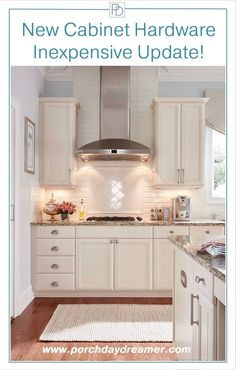 white kitchen with sea grass satin nickel knobs from amerock