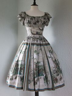 Original Vintage 50s Novelty Venice Scenic Print Cotton Day Dress Full Skirt 6 8